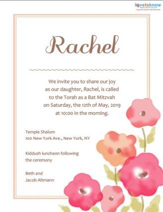 Floral Bat Mitzvah Invitation